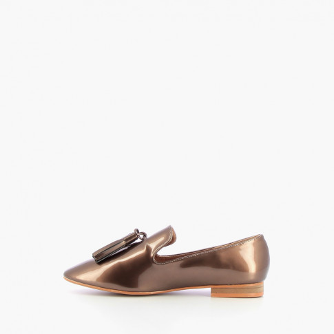 Patent taupe tassel loafers