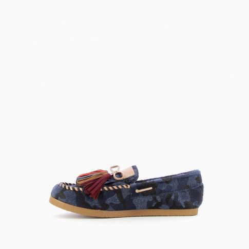 Army blue loafers with multicoloured tassels