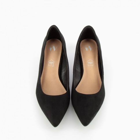 Black suede effect pumps