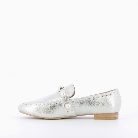 Pearly silver loafers
