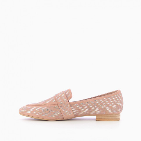 Rhinestone pink suede-effect loafers