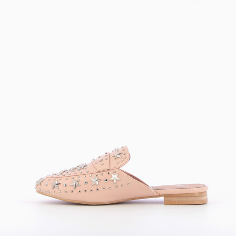 Pink star leather-effect mules