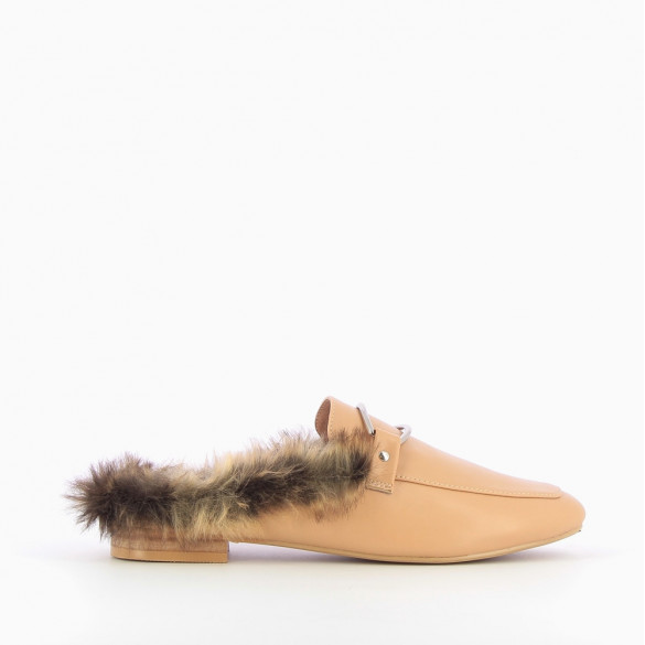 Apricot faux fur backless loafers
