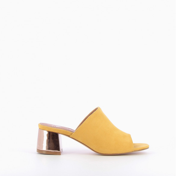 7b17bdab25f Yellow mules with rose gold heel