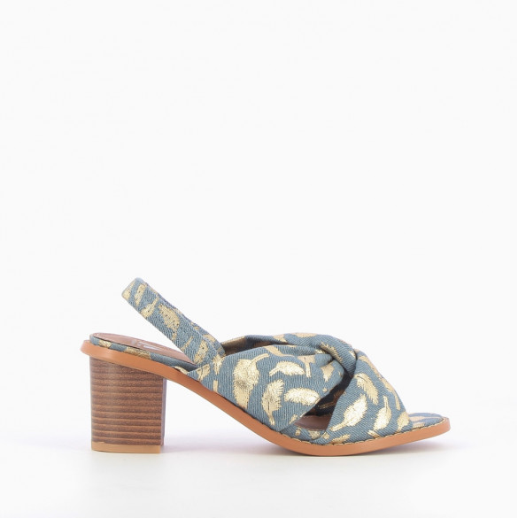 Denim-effect crossover strap sandals