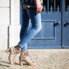 Beige cut-out sandals with heel