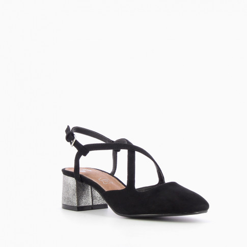 Black heeled Mary Janes with crossover straps