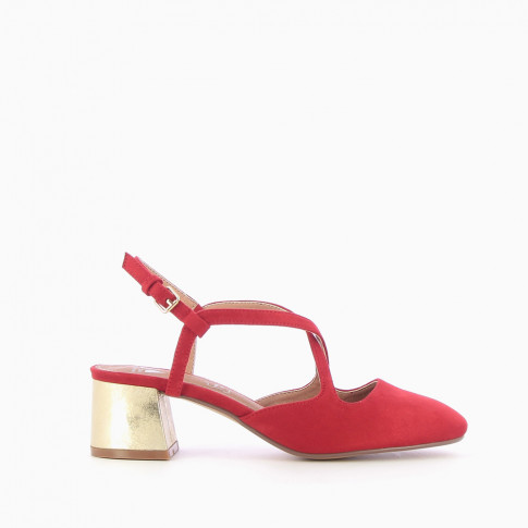Red heeled Mary Janes with crossover straps