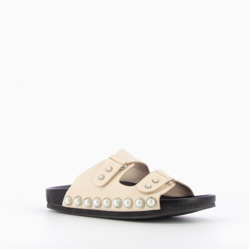 Pearly beige mules with double strap