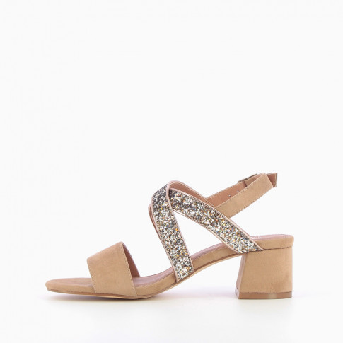 Beige heeled sandals with sequinned straps