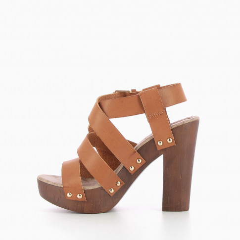 Camel strappy heeled clog