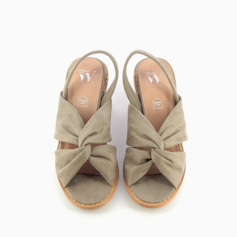 Khaki suede-effect crossover strap sandals