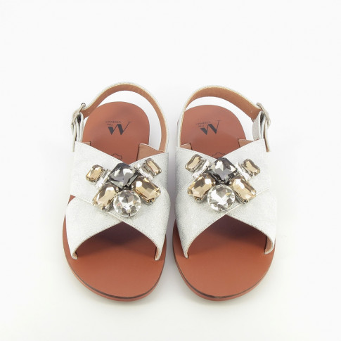 Silver flat sandals adorned with costume jewels