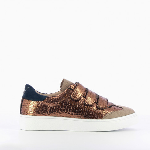 Bronze sneakers with crackled effect and cutouts in lace