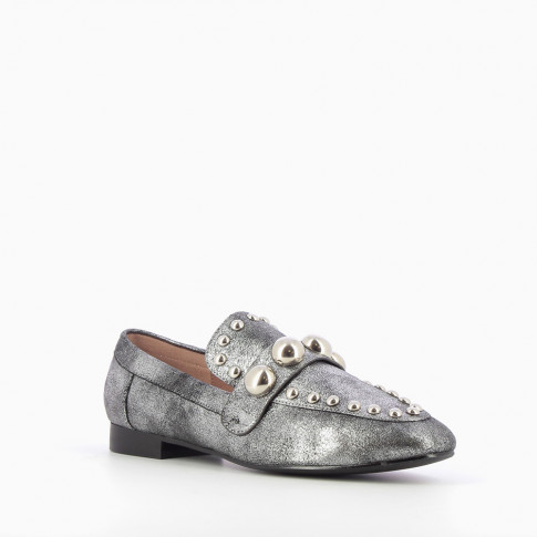 Iridescent silver loafers with cabochons