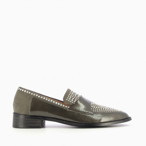 Khaki bi-material loafers with round studs