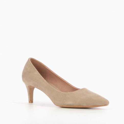 Beige suede effect pumps