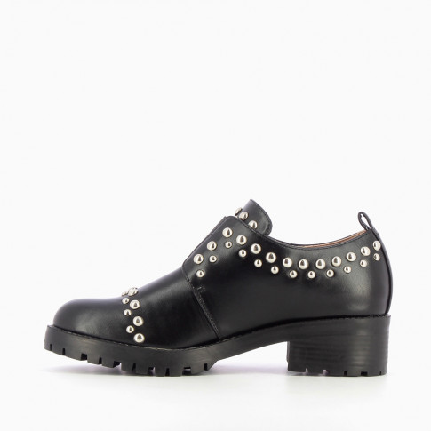 Black studded brogues with large sole