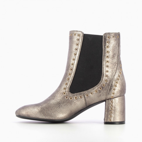 Charcoal gray Chelsea boots with gold eyelets