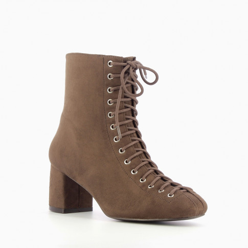 Coffee lace-up suedette boots