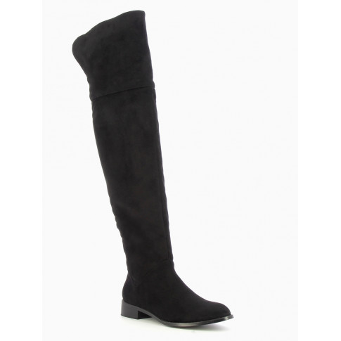 Black suedette thigh-high boots