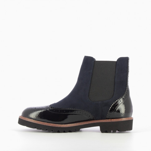 Navy suedette Chelsea boots with rubber sole