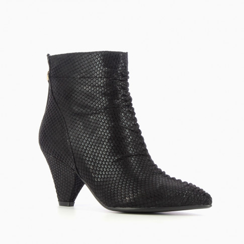 Black pleated boots with python effect