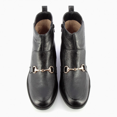 Black ankle boots with gold bit