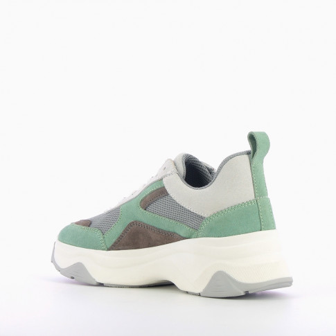 Green and gray platform sneakers
