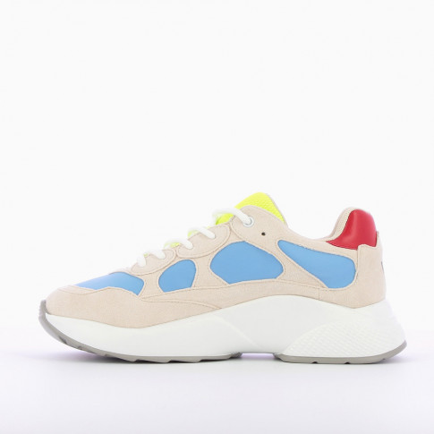 Beige sneakers with blue yokes