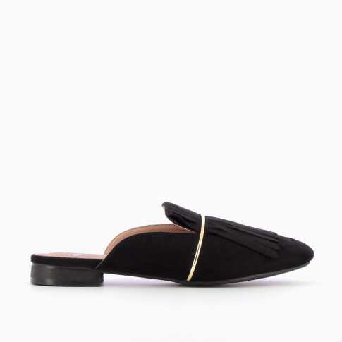 Black slip-on fringe loafers