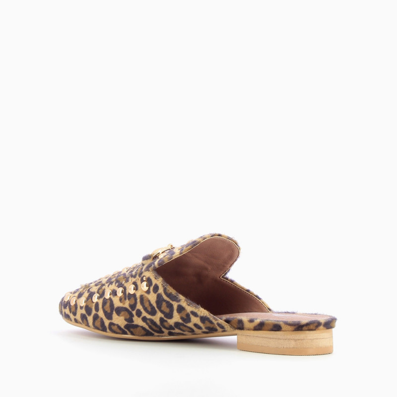 b2505e3a5b8 Leopard slip-on loafer with bit and studs - Vanessa Wu Store