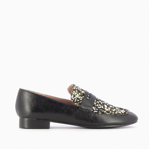 Black loafer with floral vamp