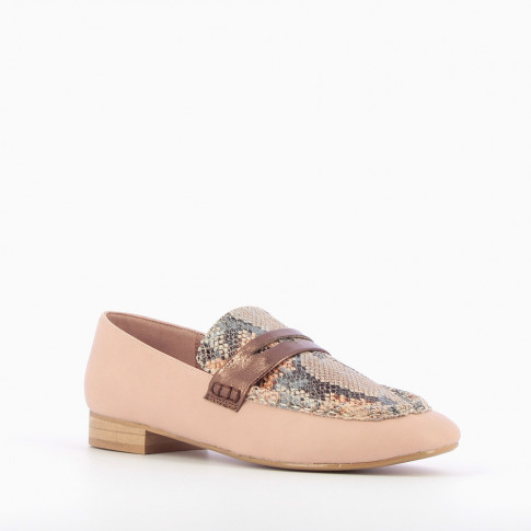 Pink loafers with python effect vamp