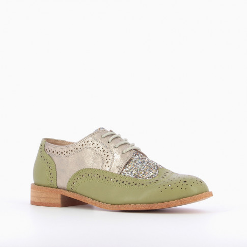 Pastel green brogues with glittery vamp