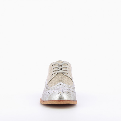 Burlap effect brogues with silver toe