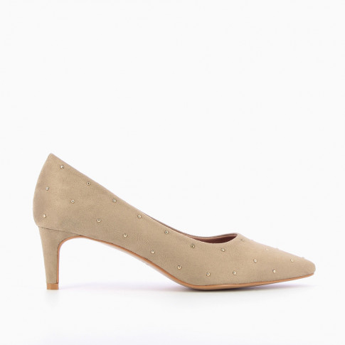 Beige suedette studded pumps