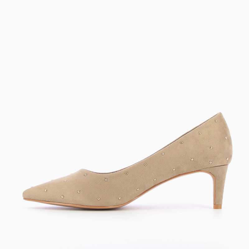 458aa3789ed Beige suedette studded pumps - Vanessa Wu Store