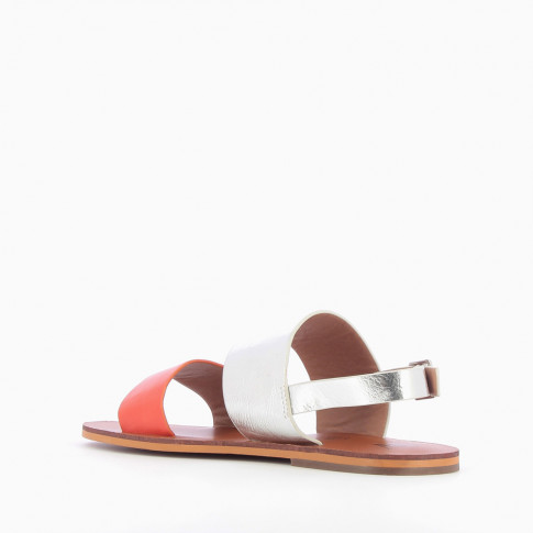 Coral and silver wide-strap sandals