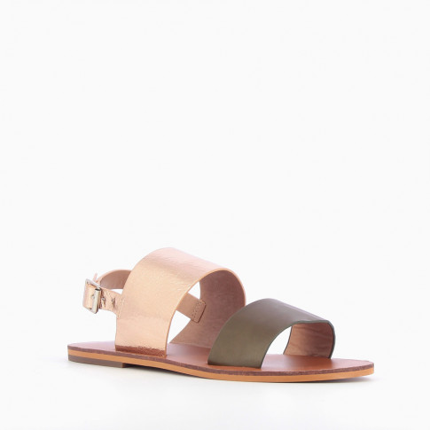 Khaki green and rose gold wide-strap sandals