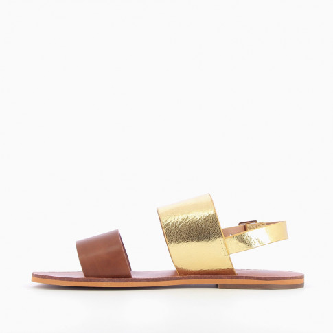 Camel and gold wide-strap sandals