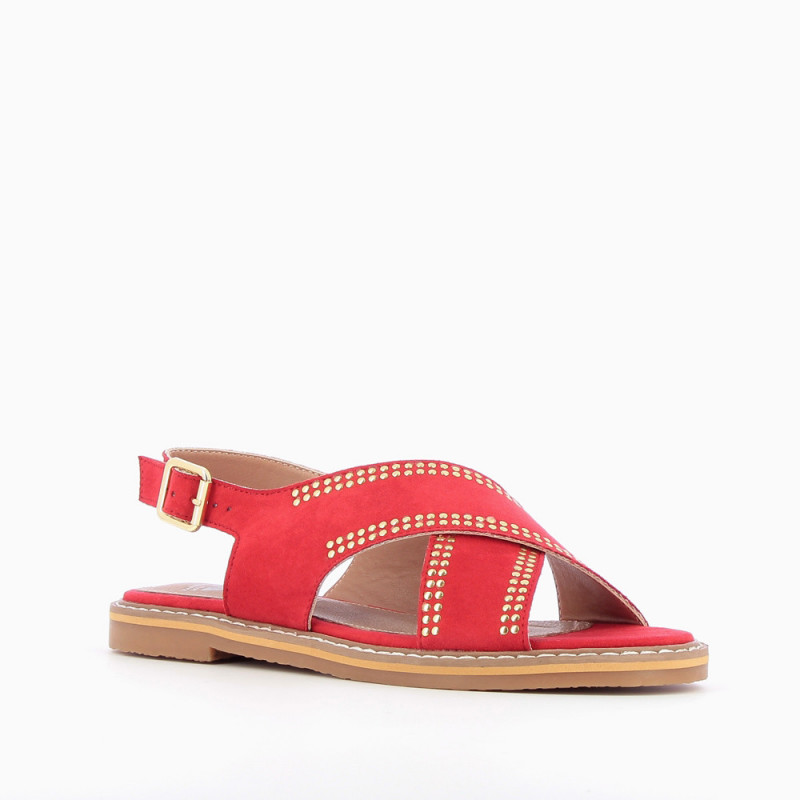 d094478fd Red cross-strap riveted sandals - Vanessa Wu Store