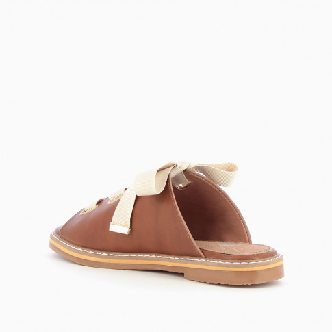 Camel mules with grosgrain ribbon