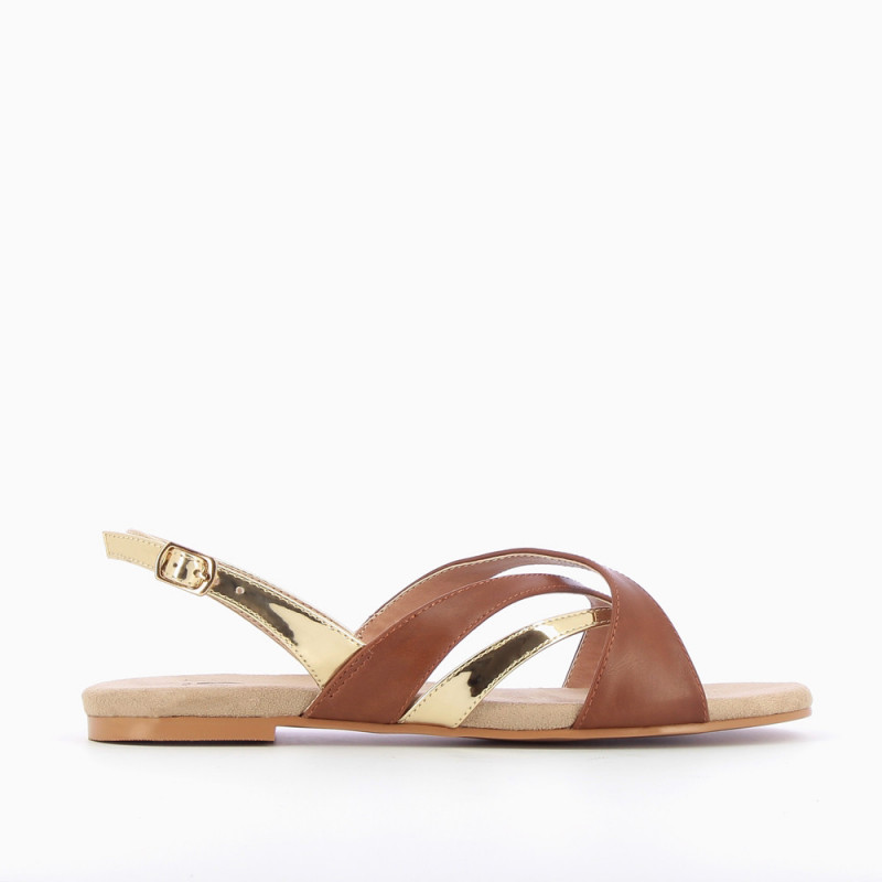 And Gold Strap Store Camel Sandals Vanessa Cross Wu oBCedx