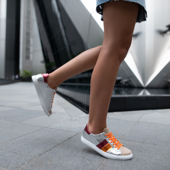 Silver sneakers with orange and wine red detailing