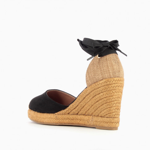 Black espadrille wedges with tie around ankle