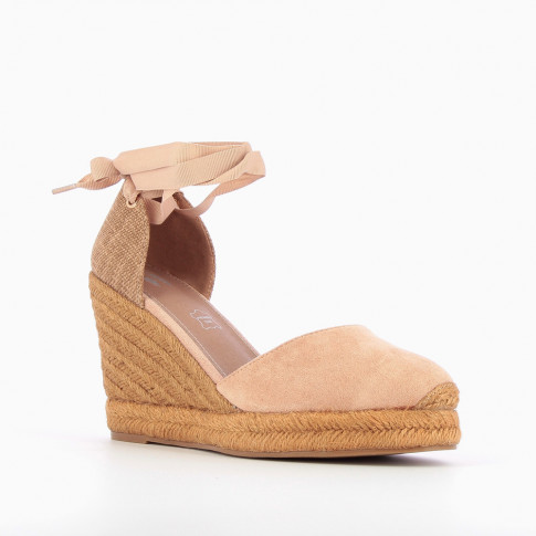 Pink espadrille wedges with tie around ankle