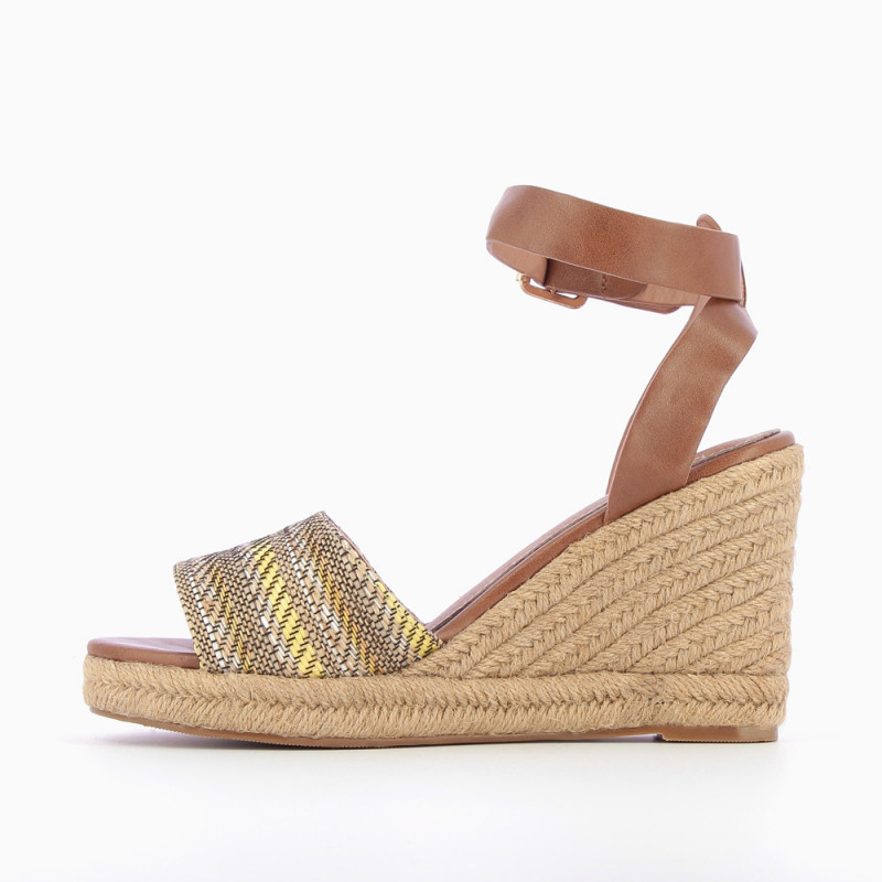 3047249b32c5 Camel and yellow wedge sandals with braided straps - Vanessa Wu Store
