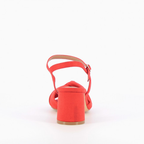 Coral sandals with heel and bowed upper strap