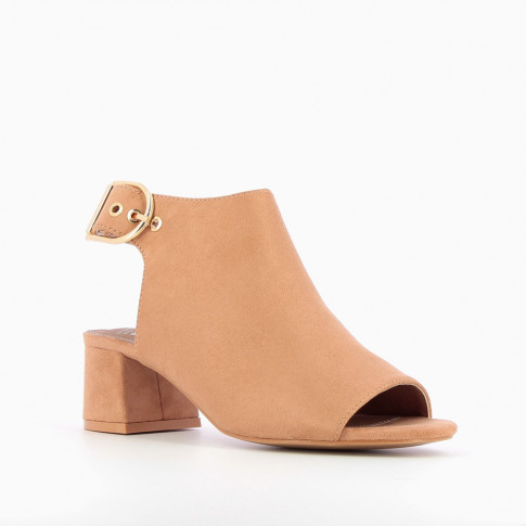 Pink suedette peep-toe ankle boots with heel